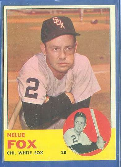 1963 Topps #525 Nellie Fox SCARCE HIGH SERIES [#b] (White Sox) Baseball cards value