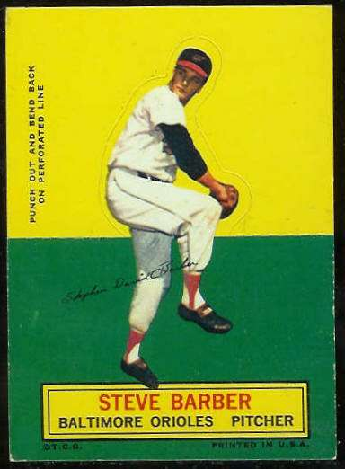 1964 Topps Stand-Ups/Standups - Steve Barber [#b] (Orioles) Baseball cards value