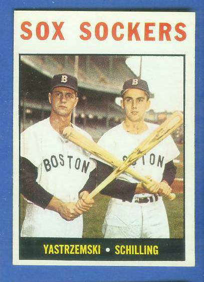 1964 Topps #182 'Red Sox Sockers' w/Carl Yastrzemski/Chuck Schilling) [#a] Baseball cards value