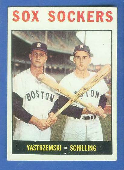 1964 Topps #182 'Red Sox Sockers' w/Carl Yastrzemski/Chuck Schilling) [#b] Baseball cards value