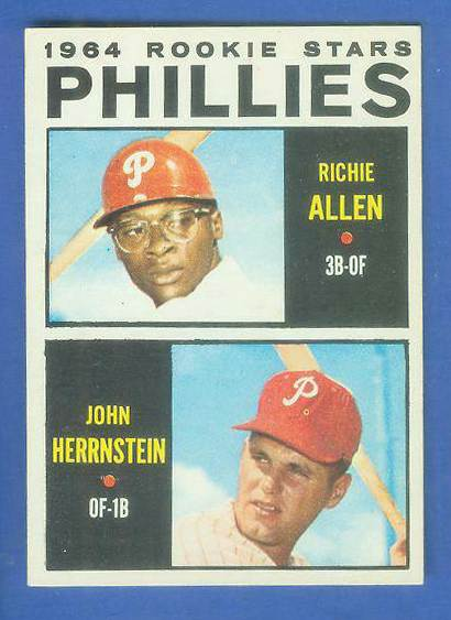 1964 Topps #243 Richie Allen ROOKIE w/John Hernstein [#a] (Phillies) Baseball cards value