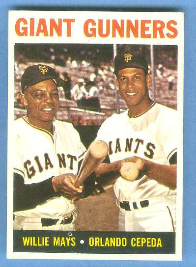 1964 Topps #306 'Giant Gunners' [#a] (Willie Mays/Orlando Cepeda) (Giants) Baseball cards value