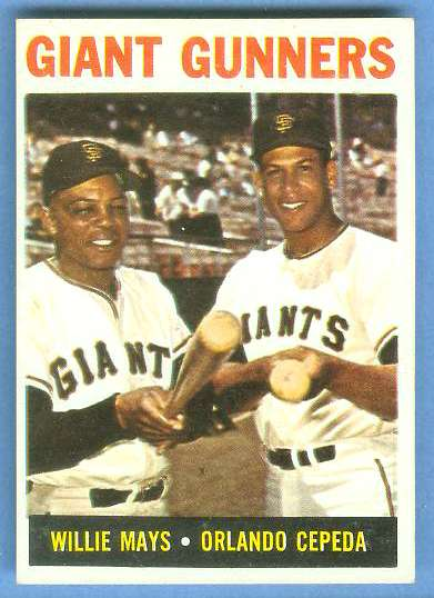 1964 Topps #306 'Giant Gunners' [#b] (Willie Mays/Orlando Cepeda) (Giants) Baseball cards value