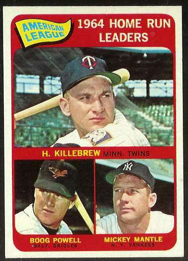 1965 Topps #..3 A.L. Home Run Leaders [#b] (Mickey Mantle,Harmon Killebrew) Baseball cards value