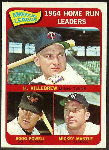 1965 Topps #..3 A.L. Home Run Leaders [#c] (Mickey Mantle,Harmon Killebrew Baseball cards value