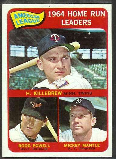 1965 Topps #..3 A.L. Home Run Leaders [#d] (Mickey Mantle,Harmon Killebrew Baseball cards value