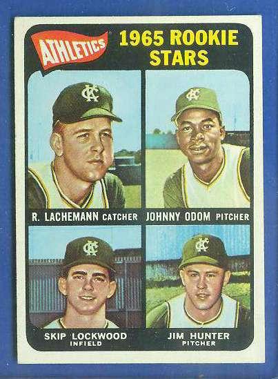 1965 Topps #526 Jim 'Catfish' Hunter SHORT PRINT ROOKIE [#e] (A's) Baseball cards value