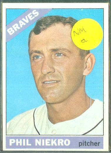 1966 Topps #.28 Phil Niekro [#a] (Braves) Baseball cards value