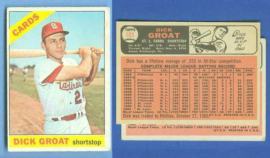 1966 Topps #103b Dick Groat {SCARCE No Trade variation} [#d] (Cardinals) Baseball cards value