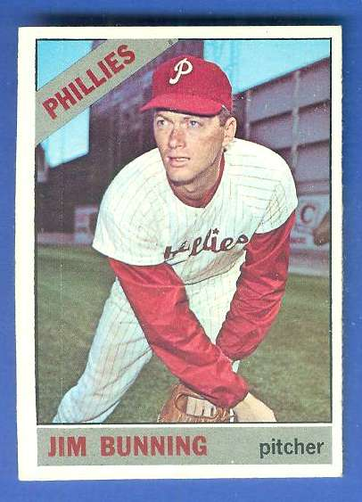 1966 Topps #435 Jim Bunning [#c] (Phillies) Baseball cards value