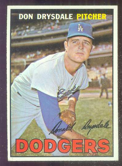1967 Topps #.55 Don Drysdale [#a] (Dodgers) Baseball cards value
