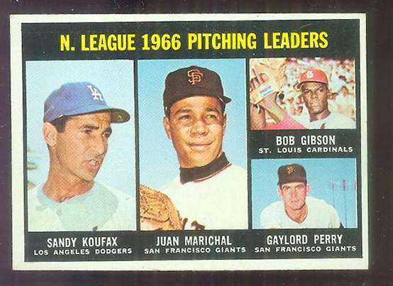 1967 Topps #236 N.L. Pitching Leaders [#a] (Bob Gibson, Sandy Koufax) Baseball cards value