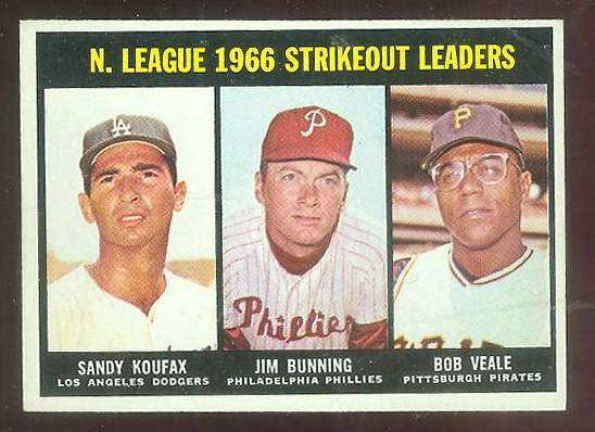 1967 Topps #238 N.L. Strikeout Leaders [#a] (Jim Bunning,Sandy Koufax) Baseball cards value