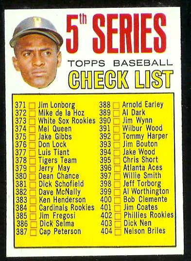 1967 Topps #361 5th Series Checklist [#a] (Roberto Clemente) (Pirates) Baseball cards value