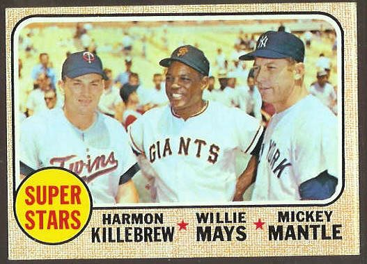 1968 Topps #490 'Super Stars' with Mickey Mantle & Willie Mays Baseball cards value