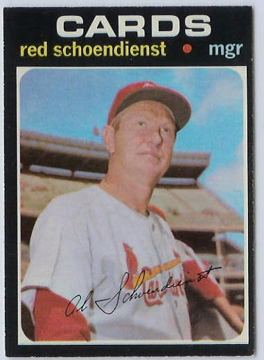1971 O-Pee-Chee/OPC #239 Red Schoendienst MGR [#e] (Cardinals) Baseball cards value