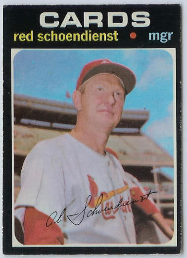 1971 O-Pee-Chee/OPC #239 Red Schoendienst MGR [#f] (Cardinals) Baseball cards value