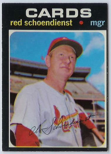 1971 O-Pee-Chee/OPC #239 Red Schoendienst MGR [#g] (Cardinals) Baseball cards value
