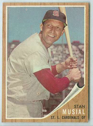 1962 Topps #.50 Stan Musial [#a] (Cardinals) Baseball cards value