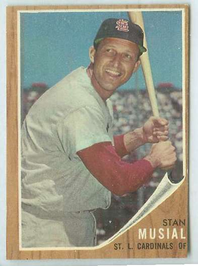 1962 Topps #.50 Stan Musial [#c] (Cardinals) Baseball cards value