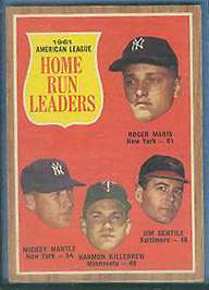 1962 Topps # 53 A.L. HR Leaders (Roger Maris (61 HRs),Mickey Mantle) Baseball cards value