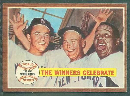 1962 Topps #237 World Series Summary 'Yanks Celebrate' [#a] (Yankees vs Red Baseball cards value
