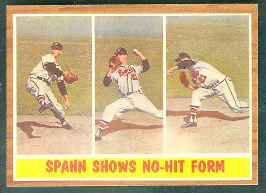 1962 Topps #312 Warren Spahn In-Action [#a] (Braves) Baseball cards value