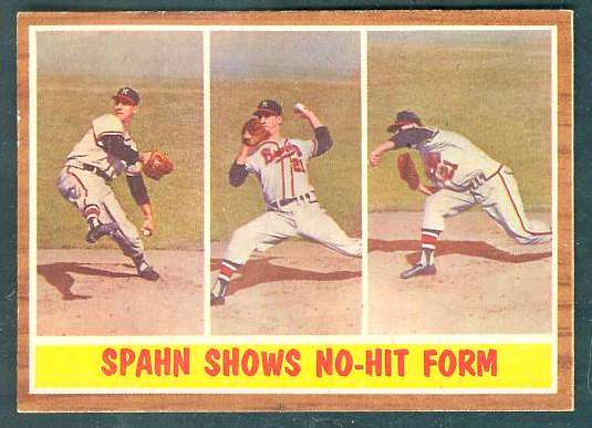 1962 Topps #312 Warren Spahn In-Action [#b] (Braves) Baseball cards value