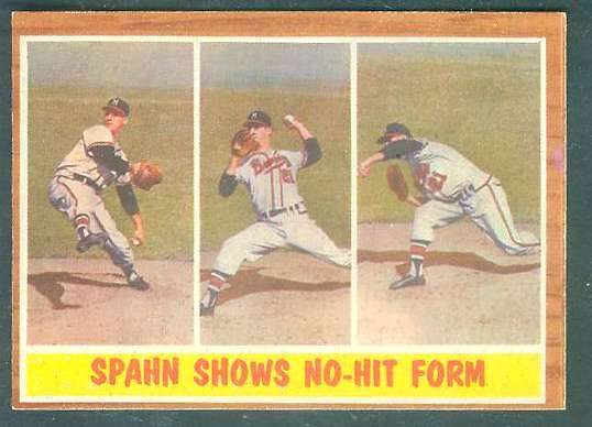 1962 Topps #312 Warren Spahn In-Action [#c] (Braves) Baseball cards value