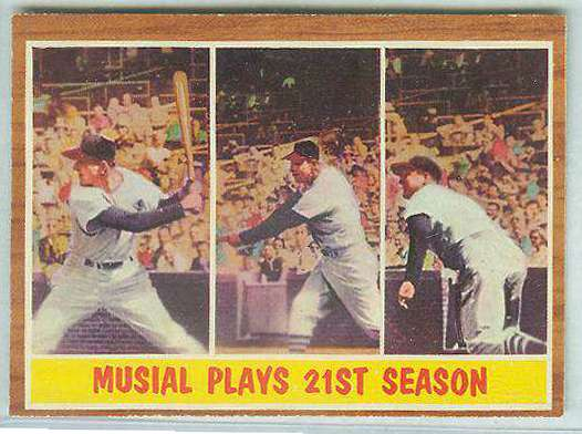 1962 Topps #317 Stan Musial In-Action [#a] (Cardinals) Baseball cards value