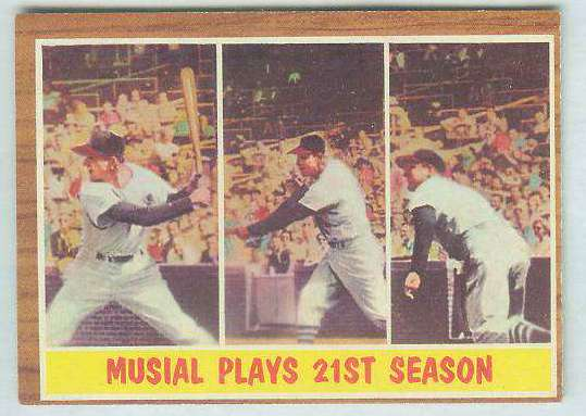 1962 Topps #317 Stan Musial In-Action [#c] (Cardinals) Baseball cards value
