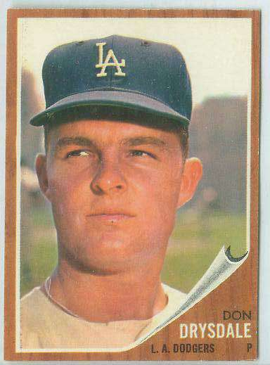 1962 Topps #340 Don Drysdale [#b] (Dodgers) Baseball cards value