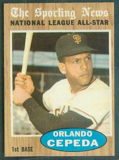 1962 Topps #390 Orlando Cepeda All-Star [#a] (Giants) Baseball cards value