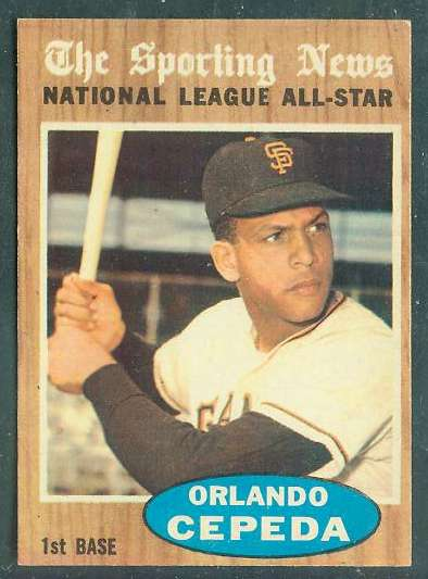 1962 Topps #390 Orlando Cepeda All-Star [#b] (Giants) Baseball cards value