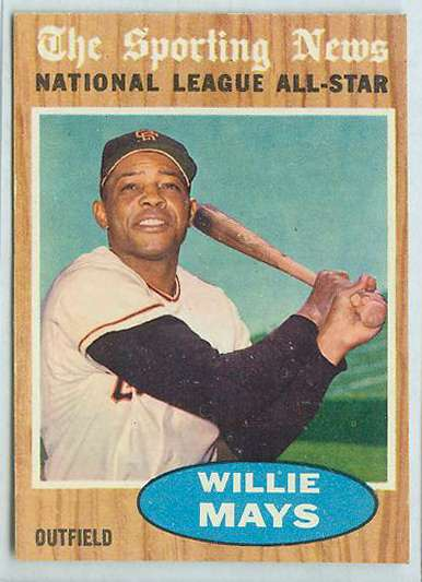 1962 Topps #395 Willie Mays All-Star [#b] (Giants) Baseball cards value