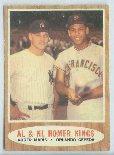 1962 Topps #401 'A.L. & N.L. HOMER KINGS' [#a] with Orlando Cepeda/Roger Ma Baseball cards value