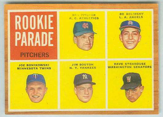 1962 Topps #592 Jim Bouton ROOKIE + Bo Belinsky ROOKIE HIGH # (Yankees/Ange Baseball cards value