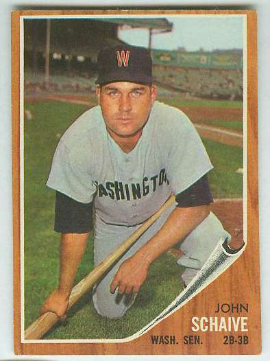 1962 Topps #529 John Schaive SHORT PRINT [#a] HIGH #.(Senators) Baseball cards value