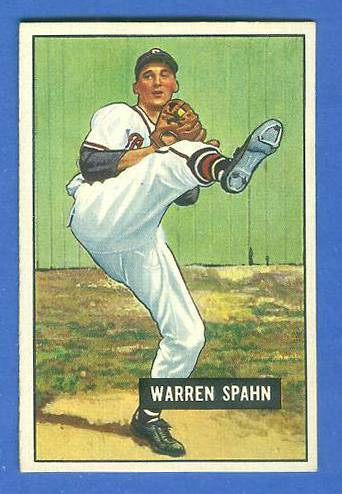 1951 Bowman #134 Warren Spahn (Boston Braves) Baseball cards value