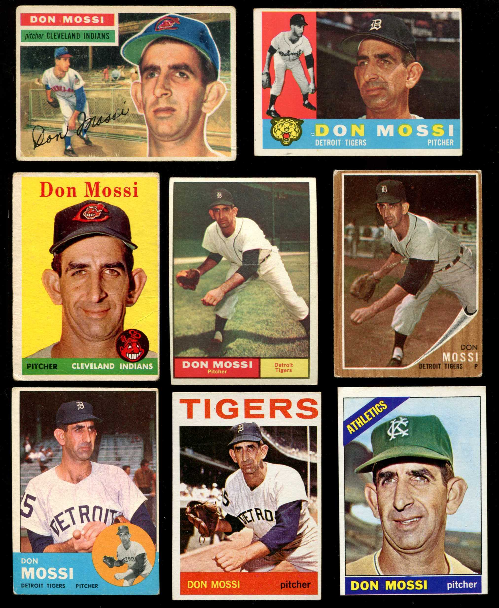1955-1966 Topps - Don Mossi COLLECTION Lot of (9) different w/ROOKIE card ! Baseball cards value
