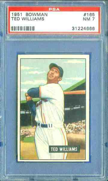 1951 Bowman #165 Ted Williams [#PSA] (Red Sox) Baseball cards value