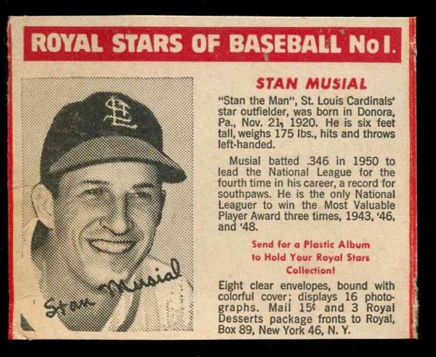 1950 Royal Stars #1 STAN MUSIAL (Cardinals) Baseball cards value