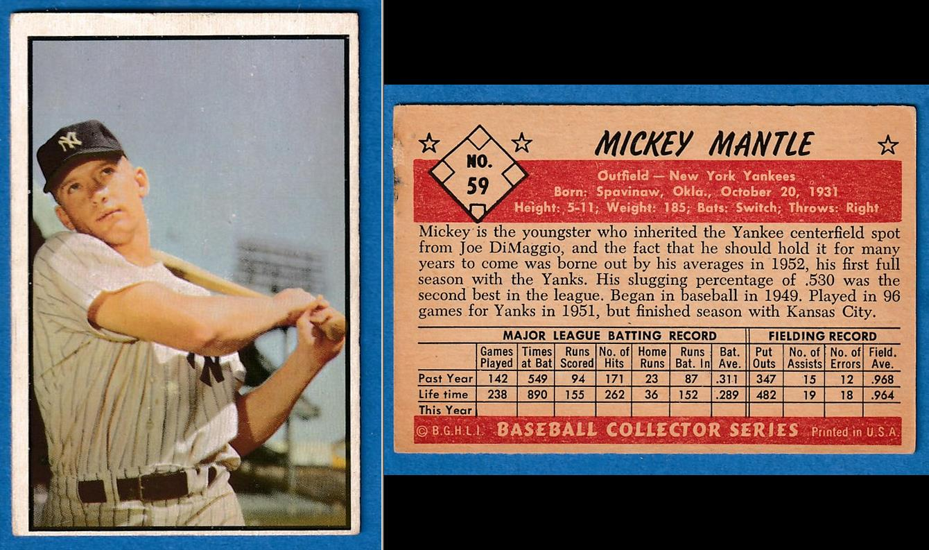 1953 Bowman Color # 59 Mickey Mantle (Yankees) Baseball cards value