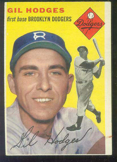 1954 Topps #102 Gil Hodges [#x] (Brooklyn Dodgers) Baseball cards value