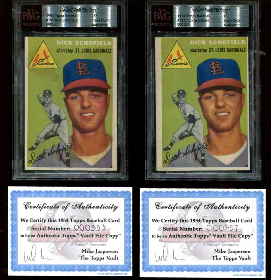 1954 Topps #191 Dick Schofield - Front & Back TOPPS VAULT FILE COPIES w/COA Baseball cards value