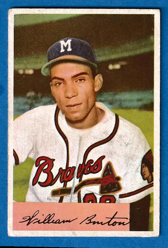 1954 Bowman #224 Bill Bruton [#] (Braves) Baseball cards value
