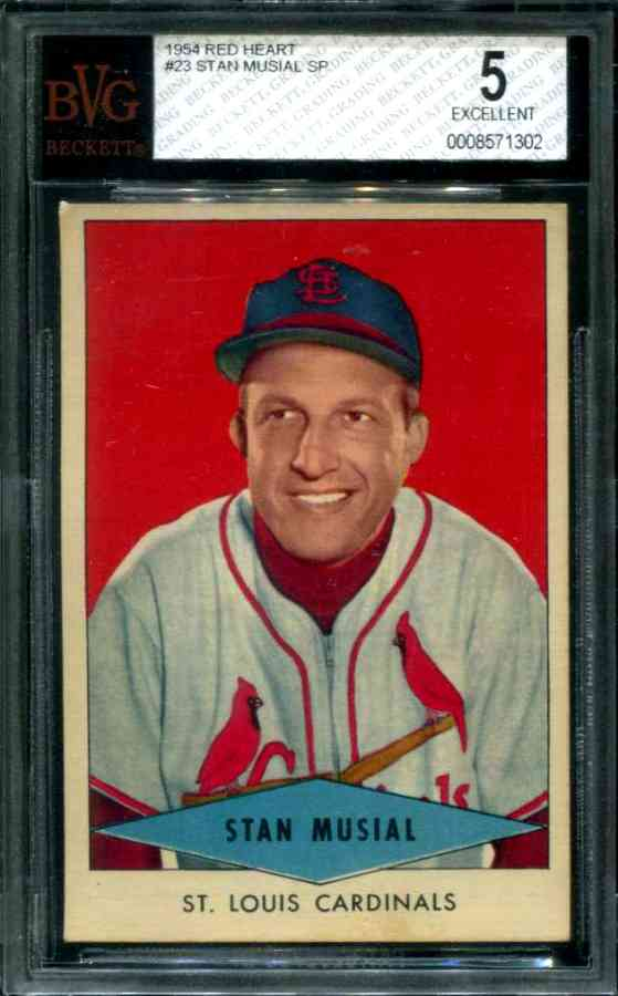 1954 Red Heart - Stan Musial SHORT PRINT (Cardinals) Baseball cards value
