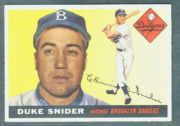 1955 Topps #210 Duke Snider SCARCE HIGH NUMBER [#b] (Brooklyn Dodgers) Baseball cards value