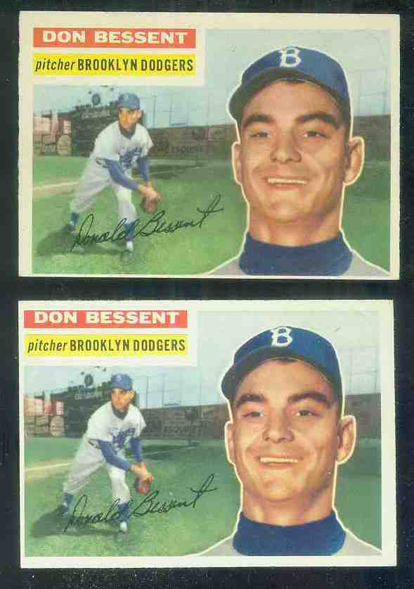 1956 Topps #184 Don Bessent {VAR:Red Line} (Dodgers) Baseball cards value