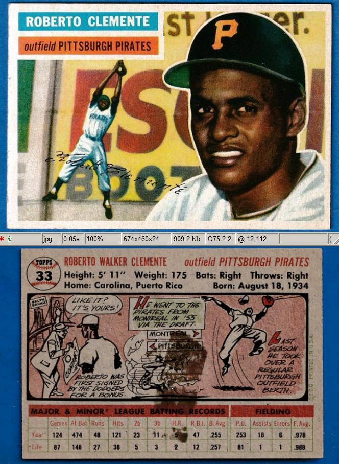 1956 Topps # 33 Roberto Clemente [#a] [GB] (Pirates) Baseball cards value